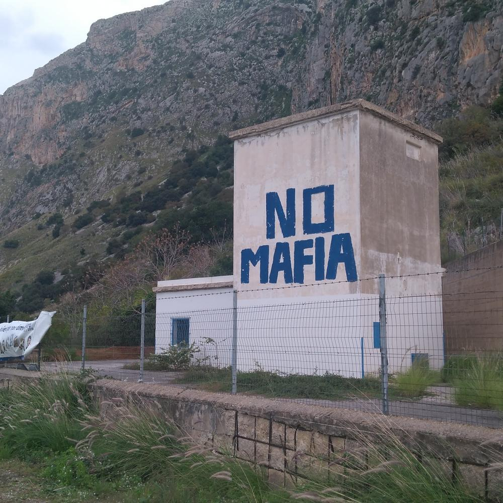No Mafia sign in Capaci, at the place where the bomb that killed Falcone was detonated from